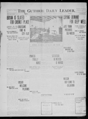 Primary view of object titled 'The Guthrie Daily Leader. (Guthrie, Okla.), Vol. 39, No. 145, Ed. 1 Saturday, December 21, 1912'.