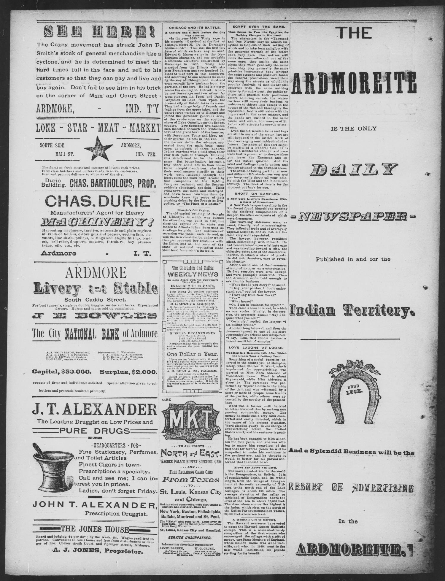Daily Ardmoreite. (Ardmore, Indian Terr.), Vol. 1, No. 174, Ed. 1 Wednesday, May 23, 1894                                                                                                      [Sequence #]: 4 of 4