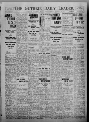 Primary view of object titled 'The Guthrie Daily Leader. (Guthrie, Okla.), Vol. 34, No. 63, Ed. 1 Wednesday, February 9, 1910'.