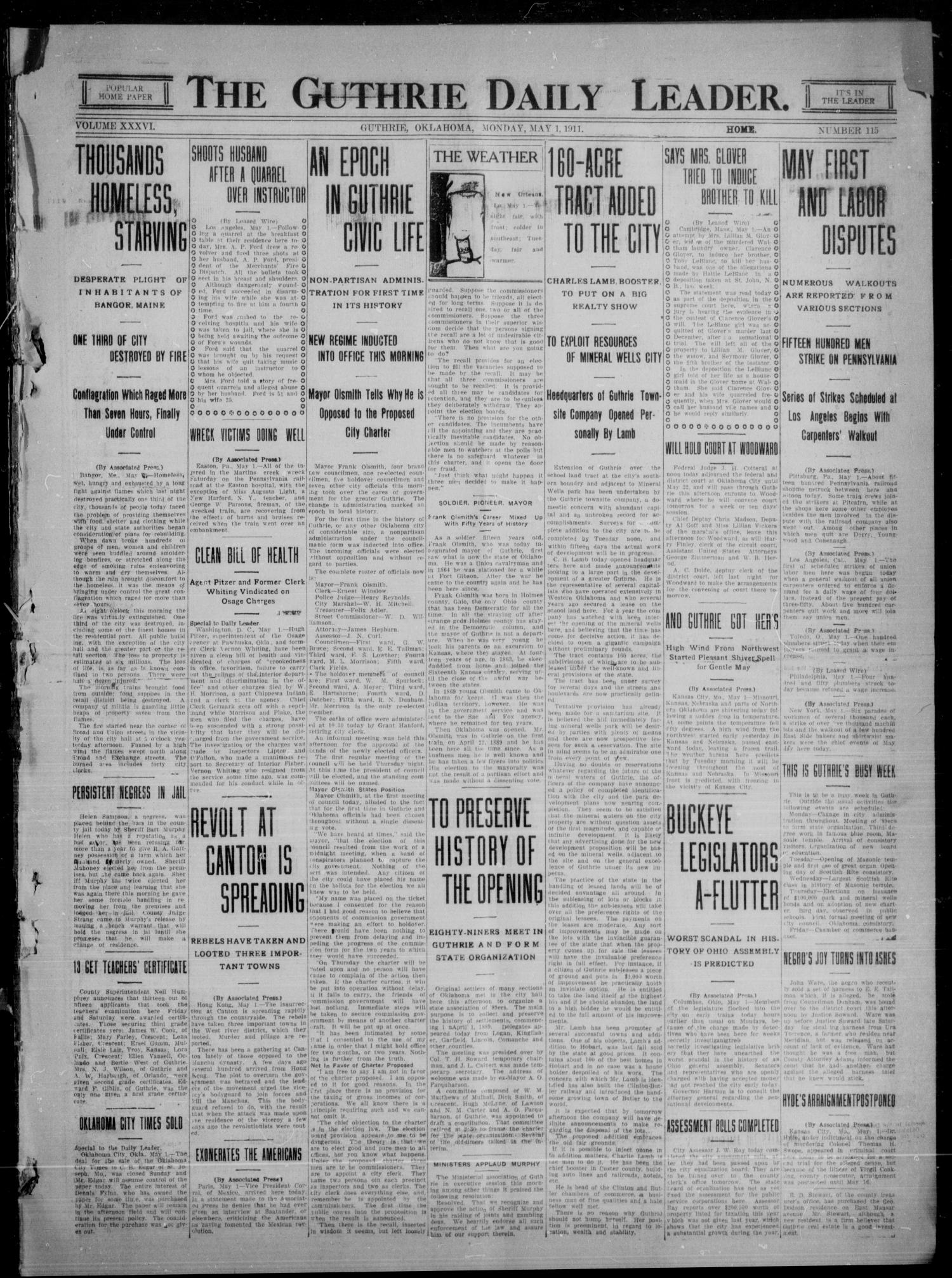 The Guthrie Daily Leader. (Guthrie, Okla.), Vol. 36, No. 115, Ed. 1 Monday, May 1, 1911                                                                                                      [Sequence #]: 1 of 8