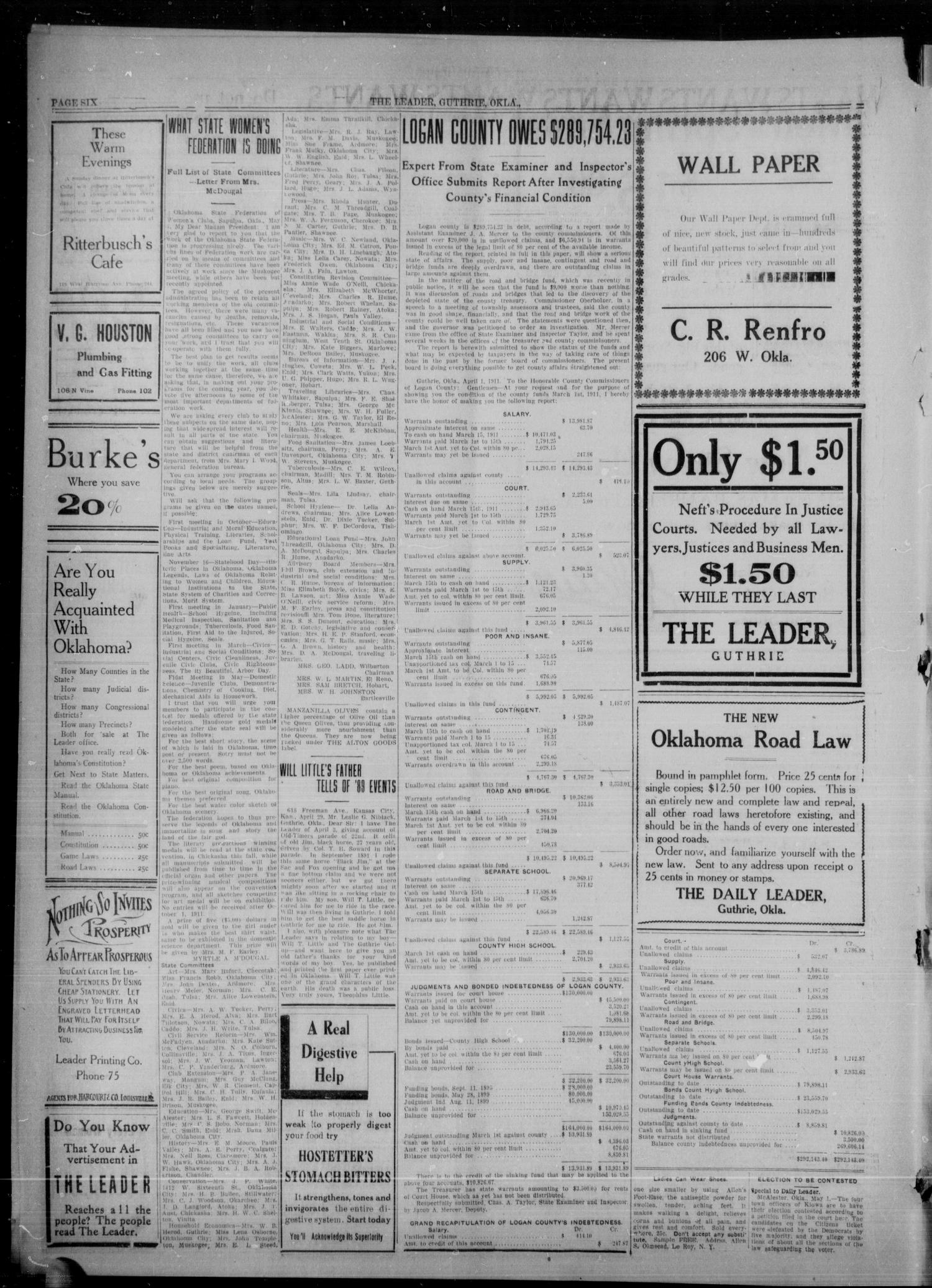 The Guthrie Daily Leader. (Guthrie, Okla.), Vol. 36, No. 115, Ed. 1 Monday, May 1, 1911                                                                                                      [Sequence #]: 6 of 8