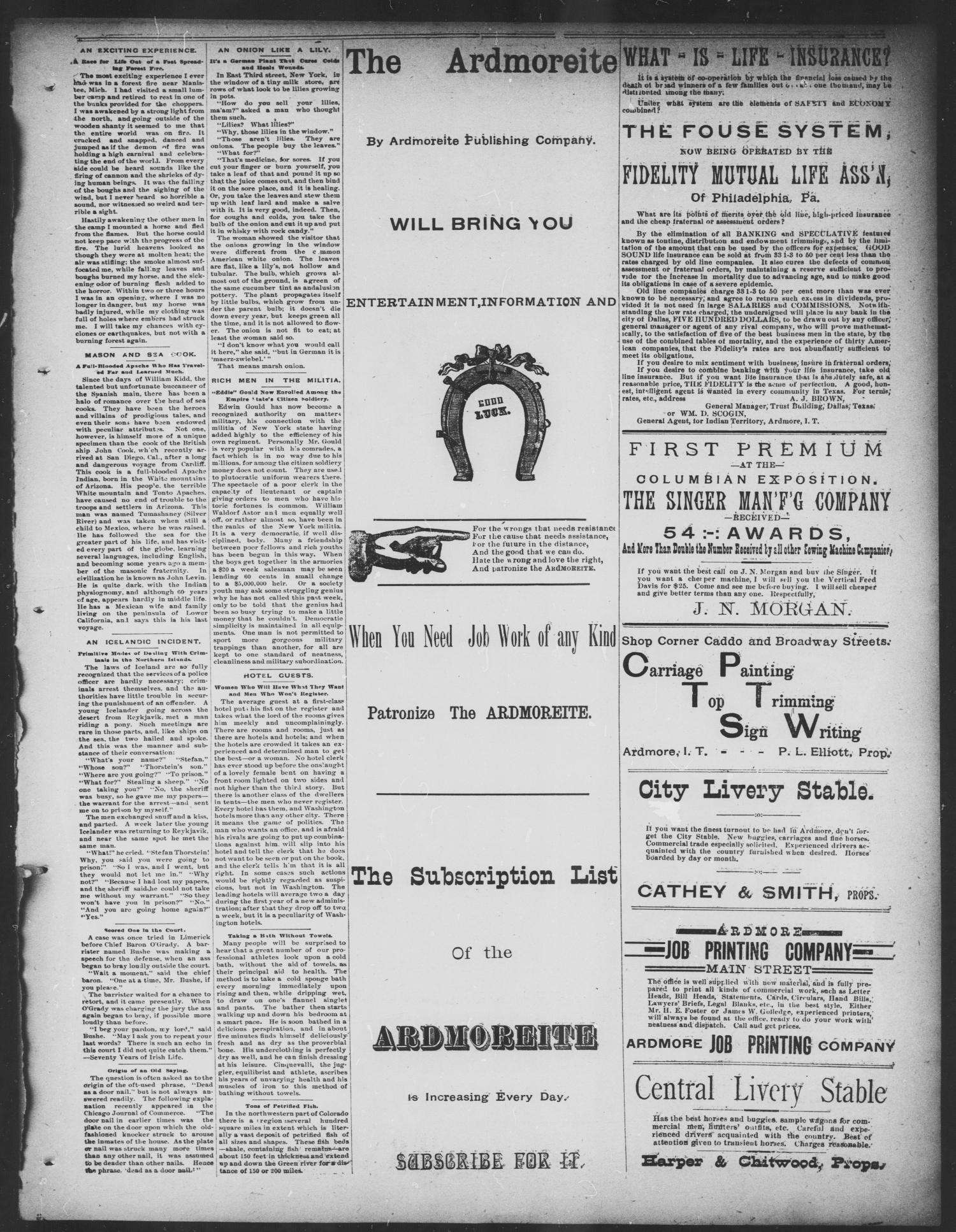 The Daily Ardmoreite. (Ardmore, Indian Terr.), Vol. 1, No. 87, Ed. 1 Friday, February 9, 1894                                                                                                      [Sequence #]: 3 of 4