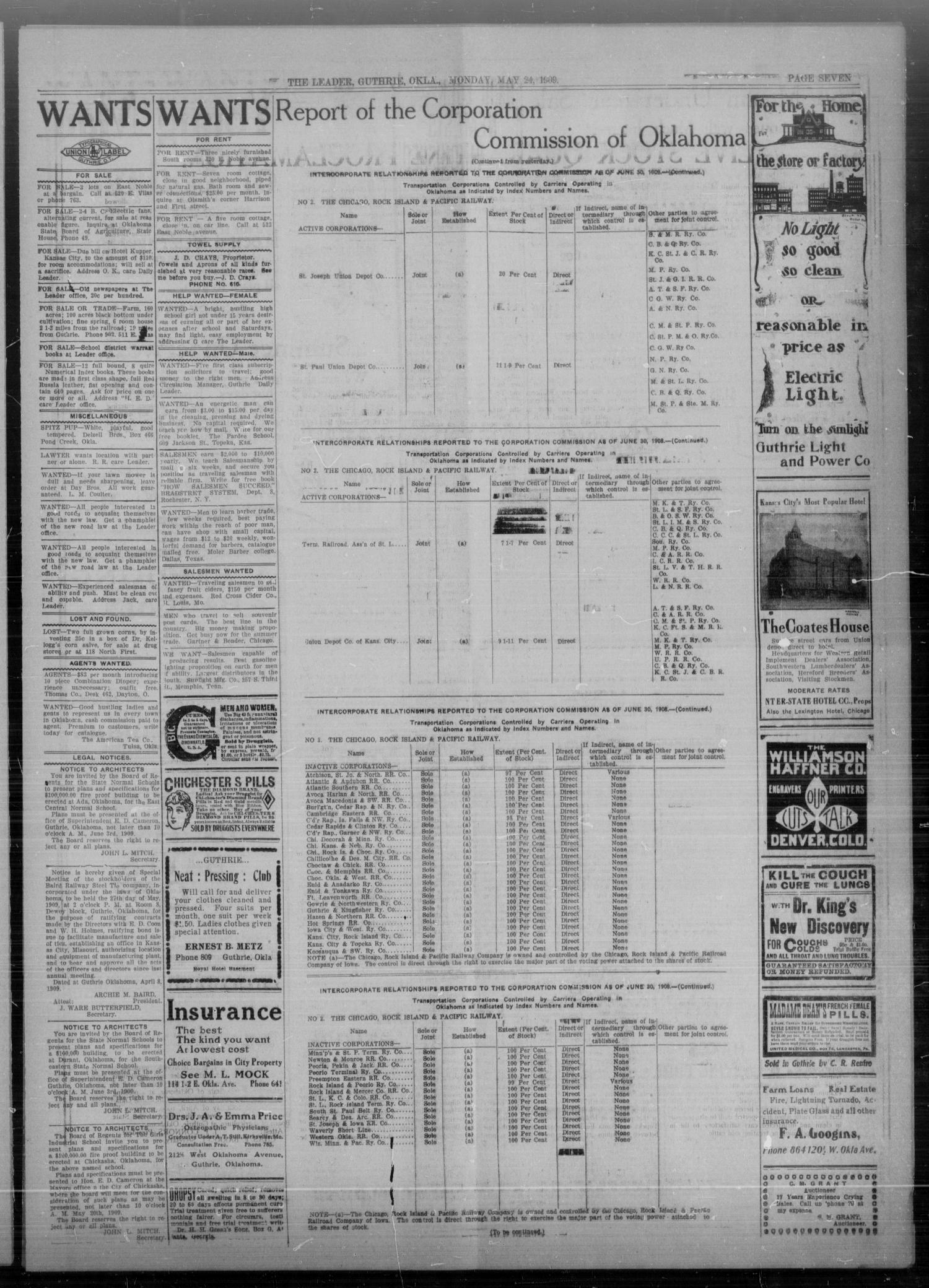 The Guthrie Daily Leader. (Guthrie, Okla.), Vol. 32, No. 157, Ed. 1 Monday, May 24, 1909                                                                                                      [Sequence #]: 7 of 8