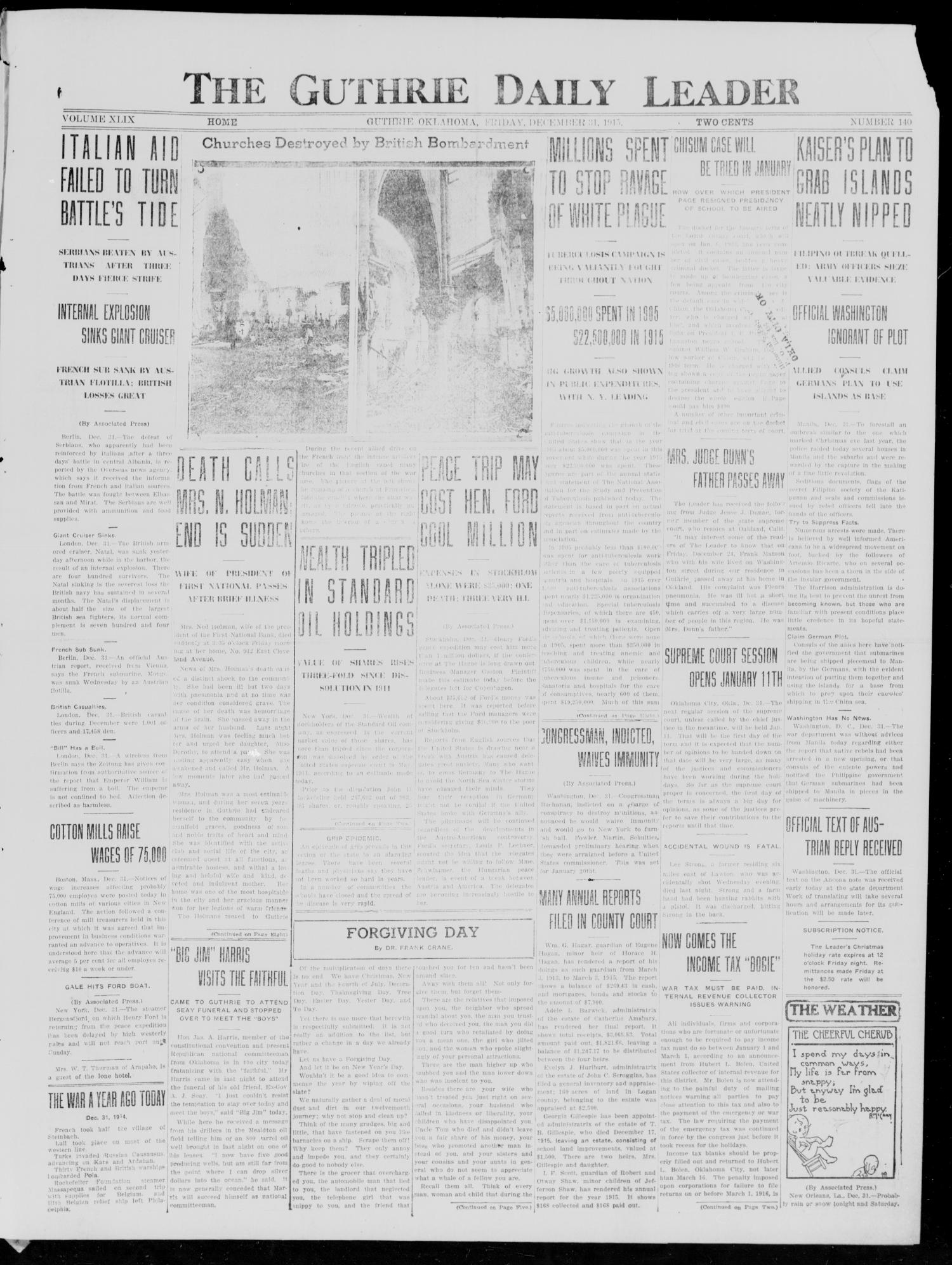The Guthrie Daily Leader (Guthrie, Okla.), Vol. 49, No. 140, Ed. 1 Friday, December 31, 1915                                                                                                      [Sequence #]: 1 of 8