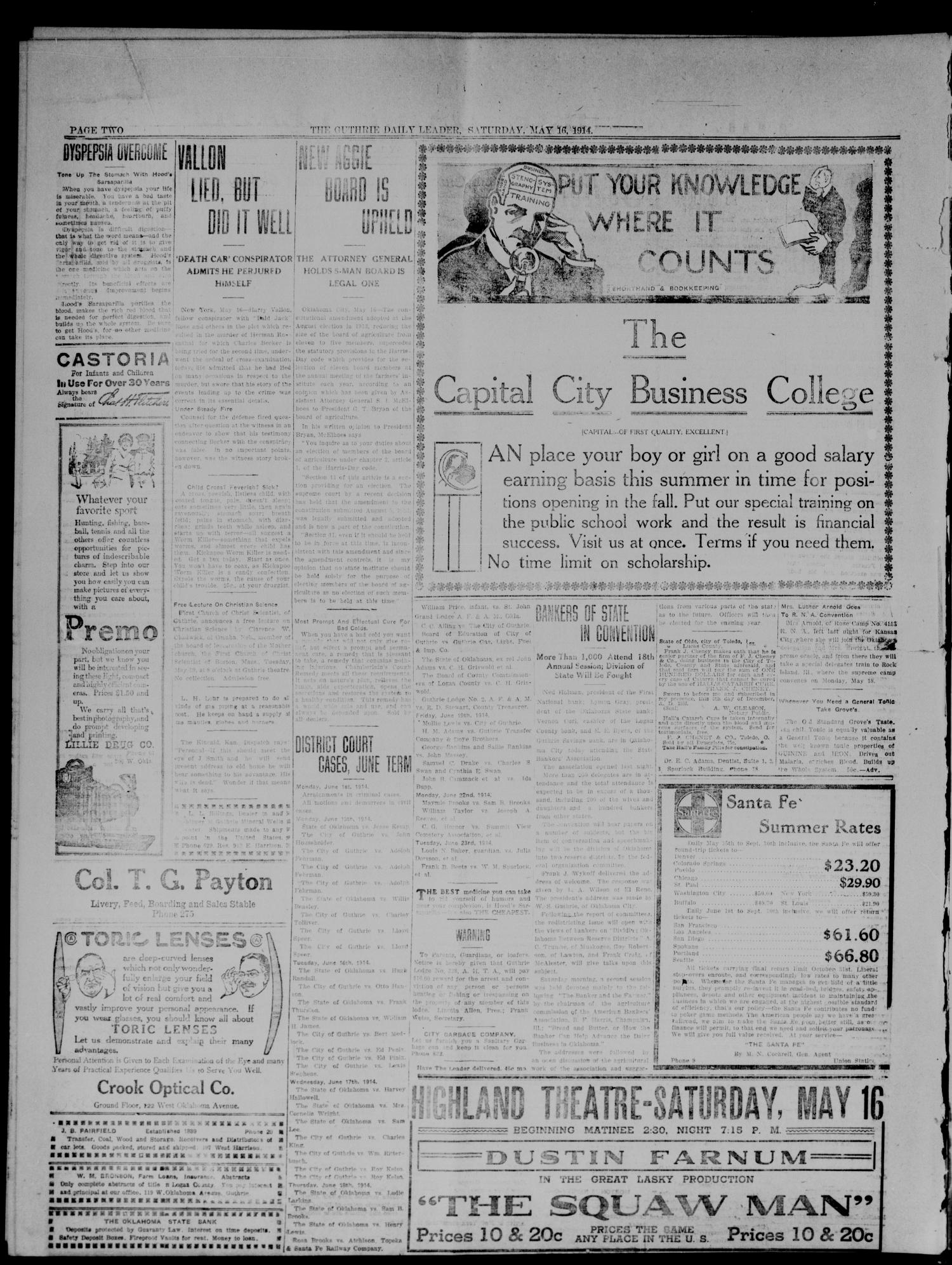 The Guthrie Daily Leader. (Guthrie, Okla.), Vol. 47, No. 108, Ed. 1 Saturday, May 16, 1914                                                                                                      [Sequence #]: 2 of 8