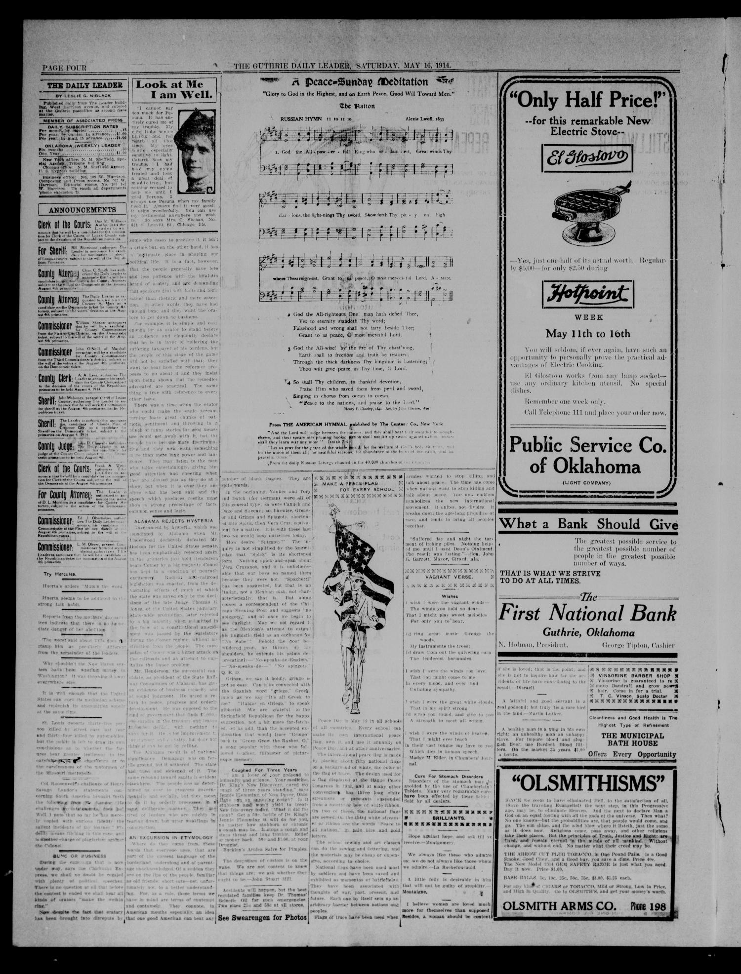 The Guthrie Daily Leader. (Guthrie, Okla.), Vol. 47, No. 108, Ed. 1 Saturday, May 16, 1914                                                                                                      [Sequence #]: 4 of 8