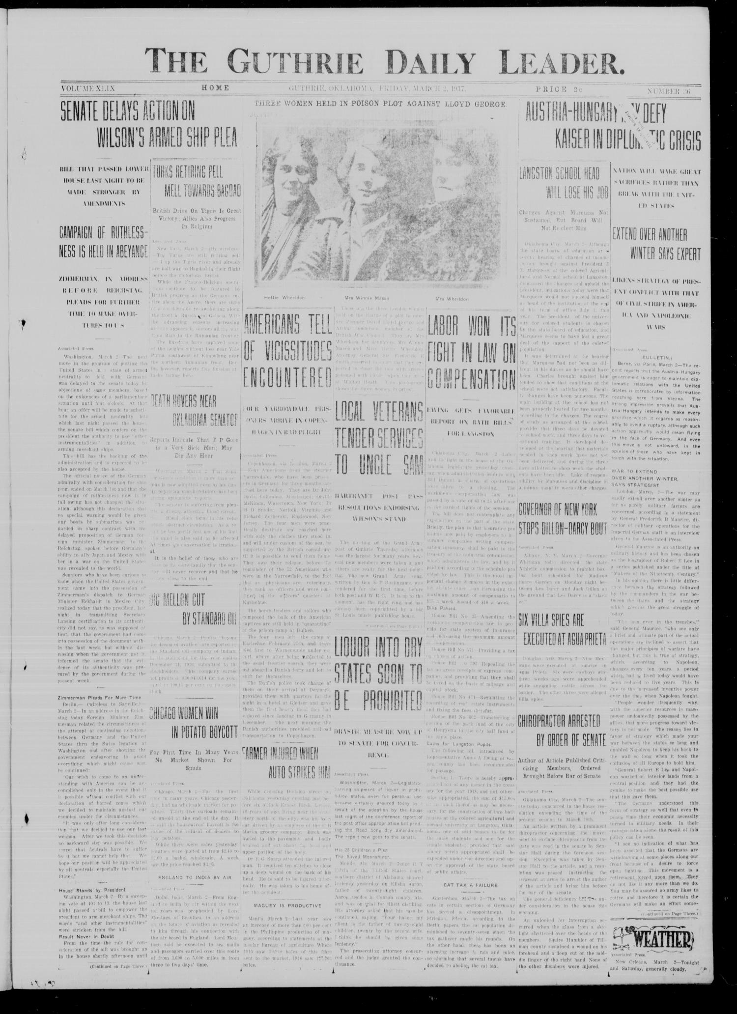 The Guthrie Daily Leader. (Guthrie, Okla.), Vol. 49, No. 36, Ed. 1 Friday, March 2, 1917                                                                                                      [Sequence #]: 1 of 8