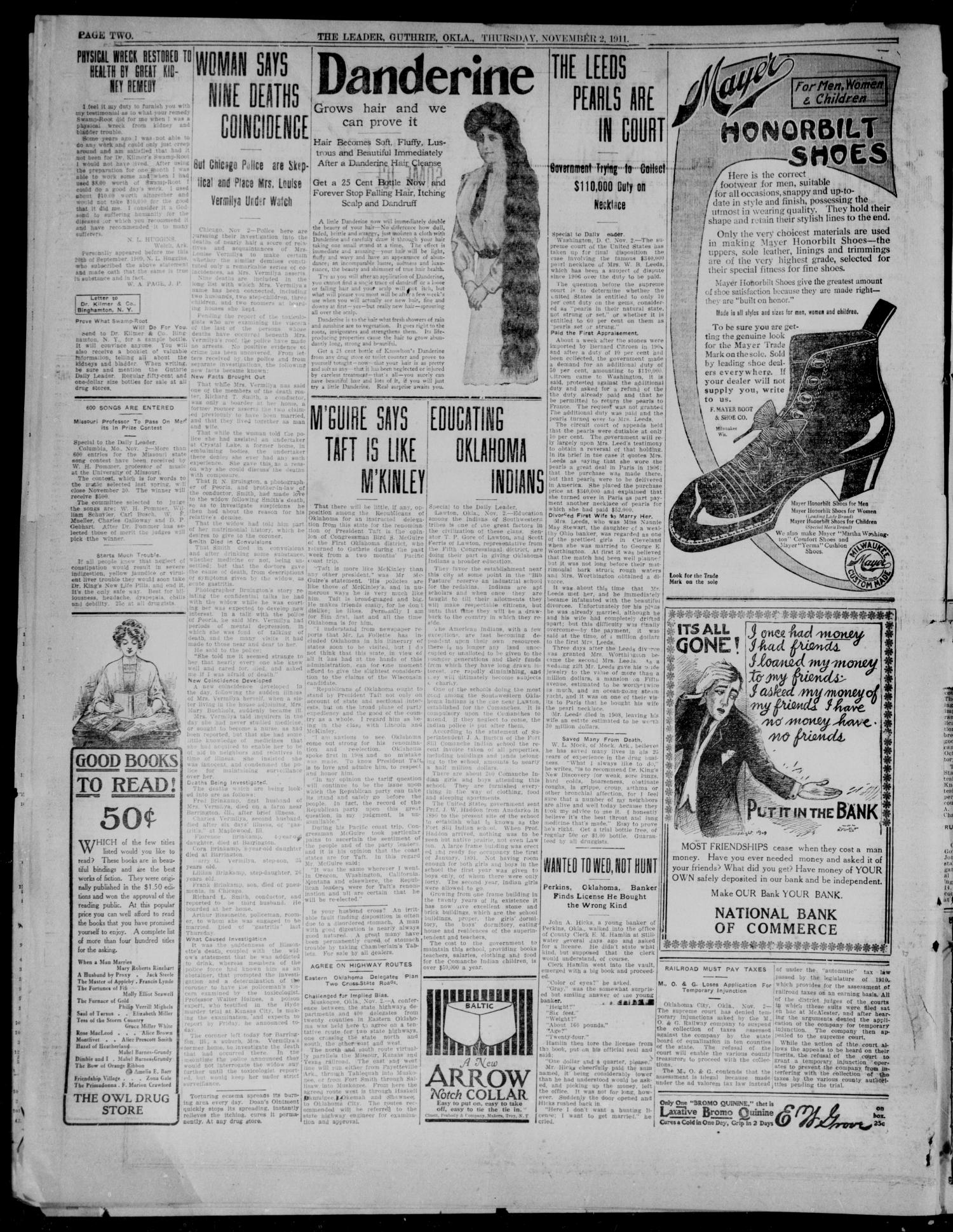 The Guthrie Daily Leader. (Guthrie, Okla.), Vol. 37, No. 116, Ed. 1 Thursday, November 2, 1911                                                                                                      [Sequence #]: 2 of 8