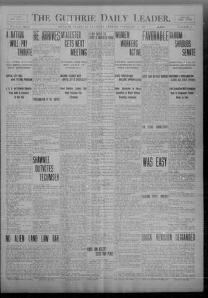 Primary view of object titled 'The Guthrie Daily Leader. (Guthrie, Okla.), Vol. 32, No. 70, Ed. 1 Thursday, February 11, 1909'.