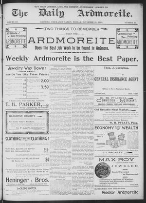 Primary view of object titled 'The Daily Ardmoreite. (Ardmore, Indian Terr.), Vol. 3, No. 25, Ed. 1 Monday, November 25, 1895'.