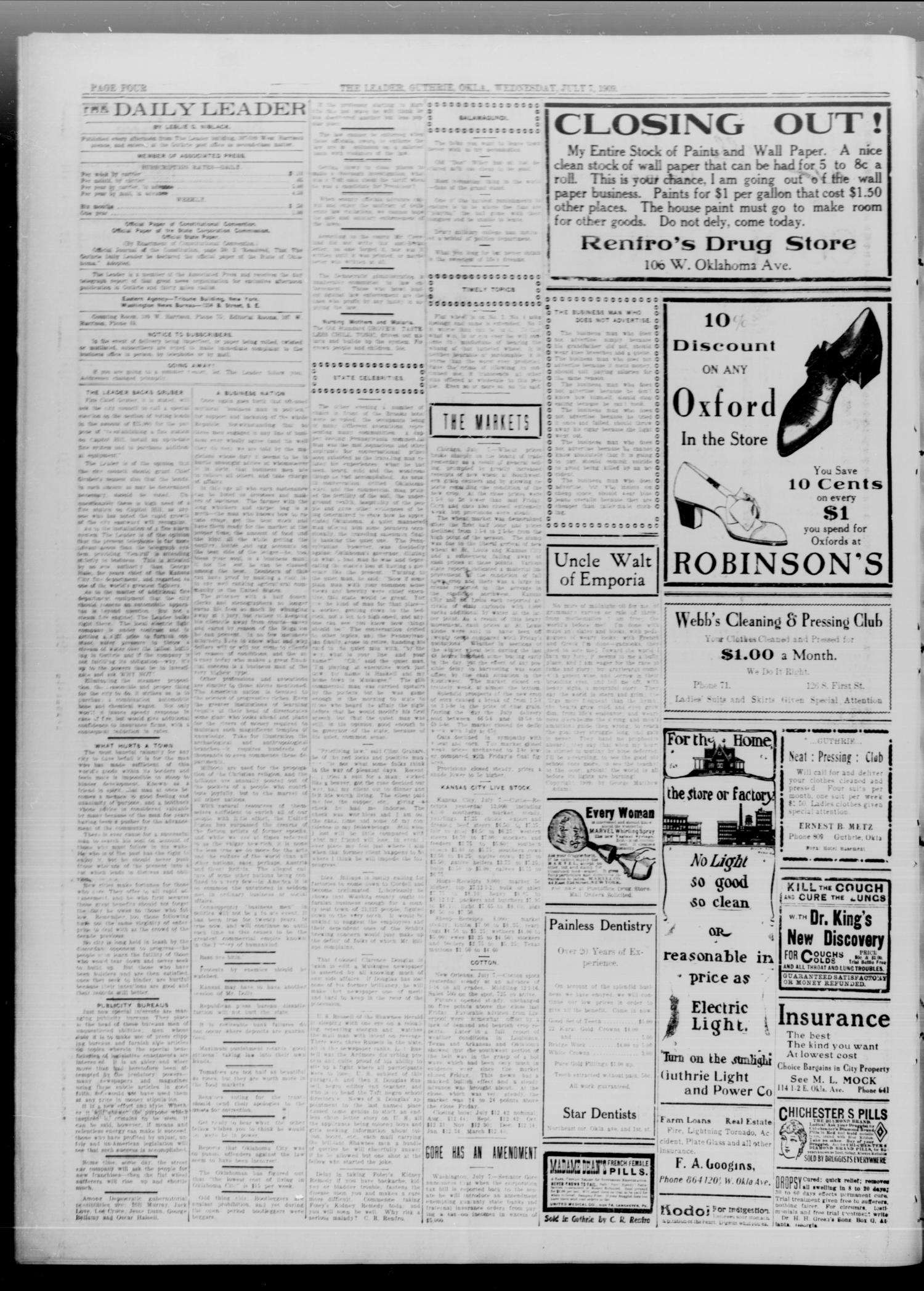 The Guthrie Daily Leader. (Guthrie, Okla.), Vol. 33, No. 36, Ed. 1 Wednesday, July 7, 1909                                                                                                      [Sequence #]: 4 of 8