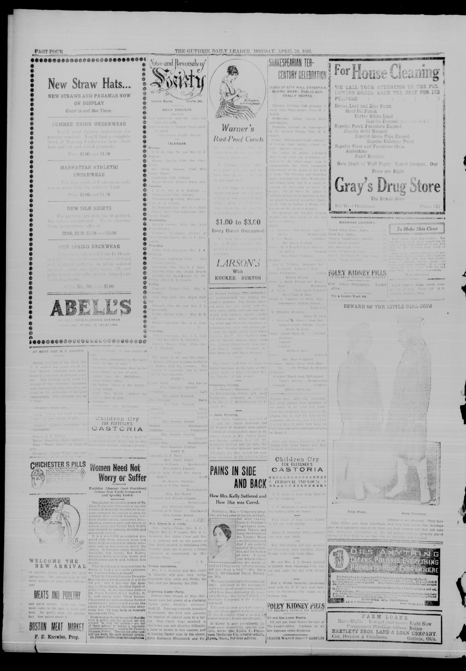 The Guthrie Daily Leader (Guthrie, Okla.), Vol. 50, No. 84, Ed. 1 Monday, April 24, 1916                                                                                                      [Sequence #]: 4 of 8