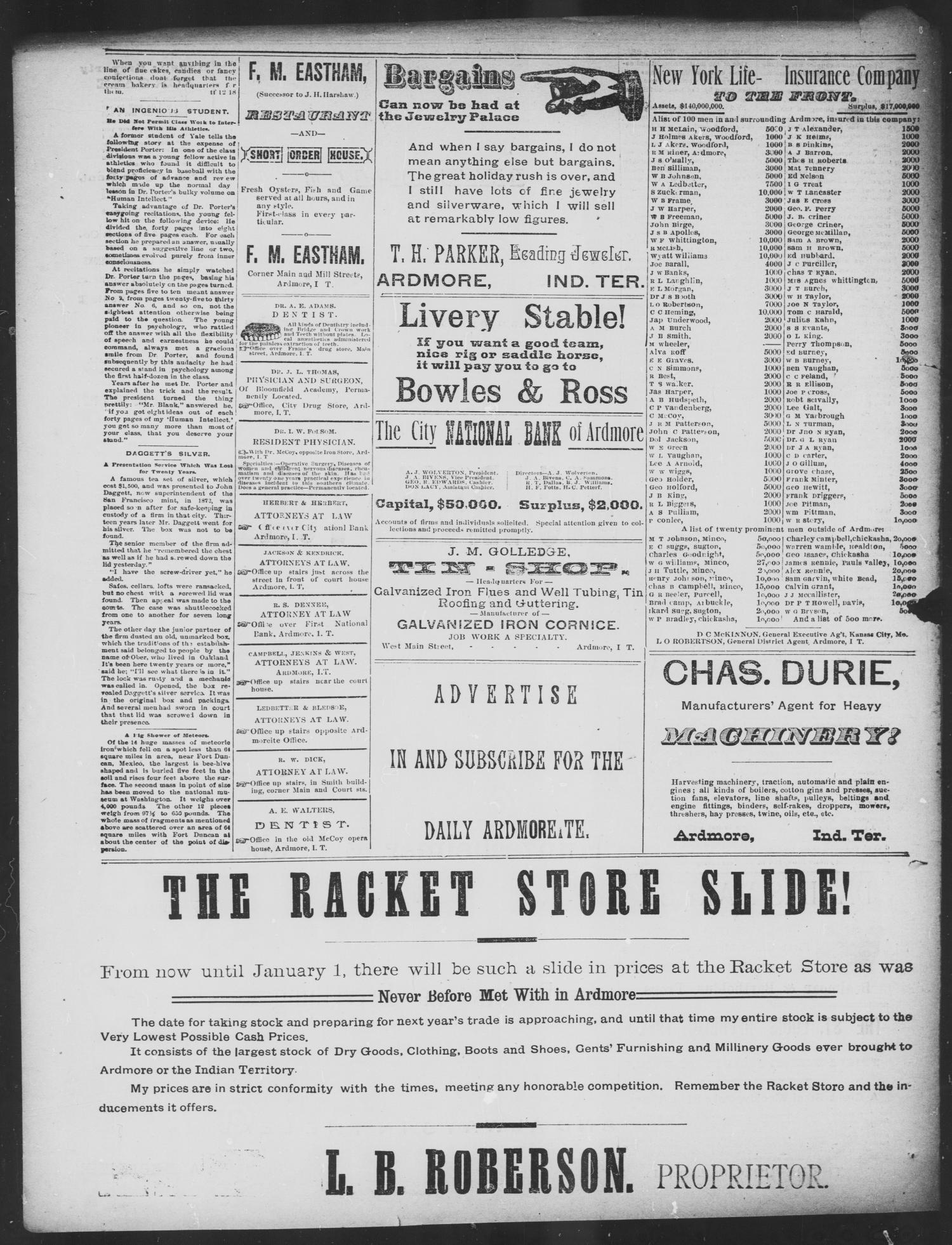 The Daily Ardmoreite. (Ardmore, Indian Terr.), Vol. 1, No. 51, Ed. 1 Wednesday, December 27, 1893                                                                                                      [Sequence #]: 4 of 4