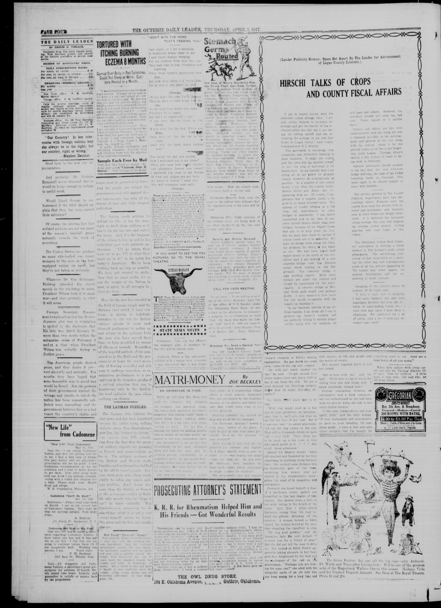 The Guthrie Daily Leader. (Guthrie, Okla.), Vol. 49, No. 63, Ed. 1 Thursday, April 5, 1917                                                                                                      [Sequence #]: 4 of 8