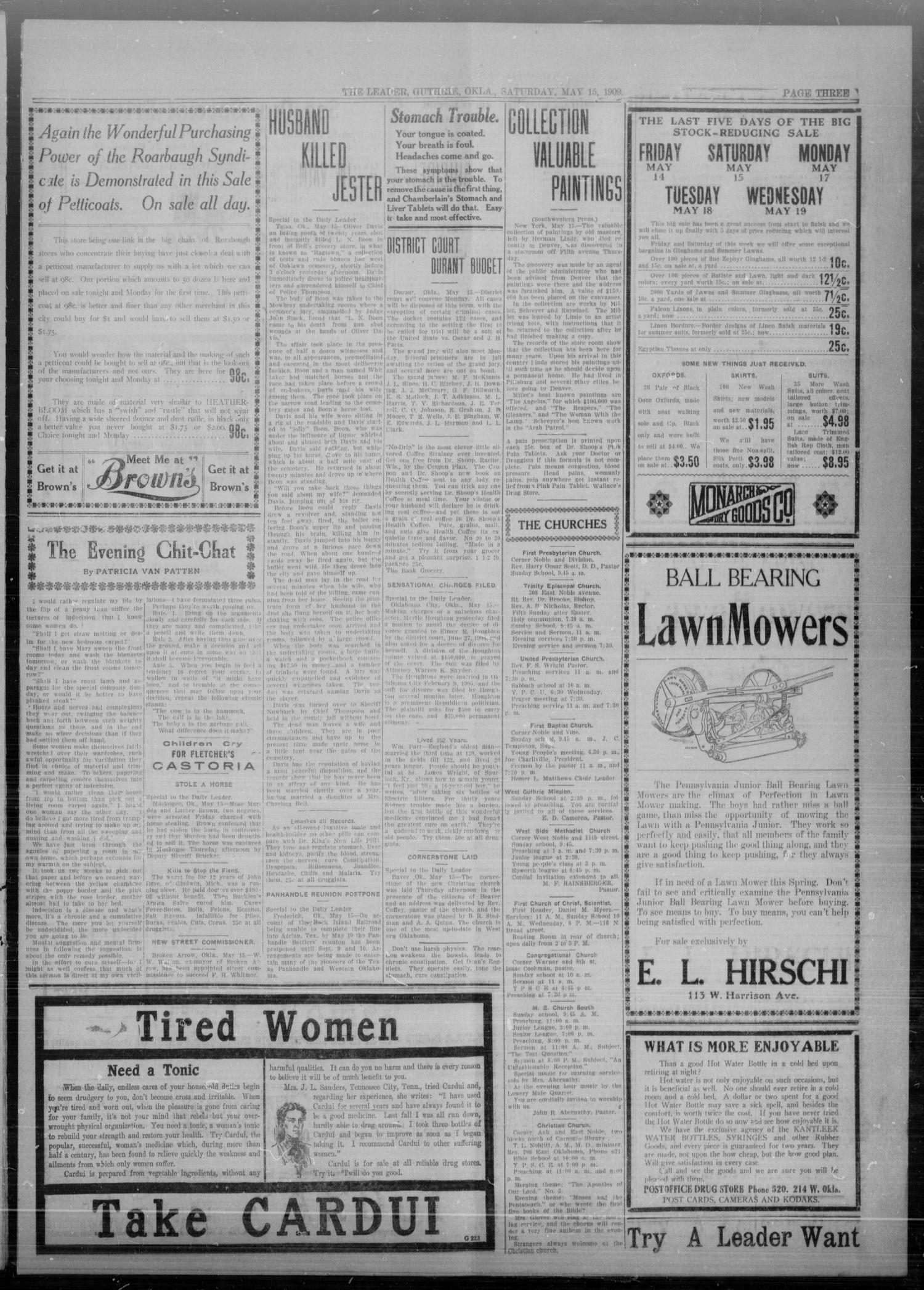 The Guthrie Daily Leader. (Guthrie, Okla.), Vol. 32, No. 150, Ed. 1 Saturday, May 15, 1909                                                                                                      [Sequence #]: 3 of 8