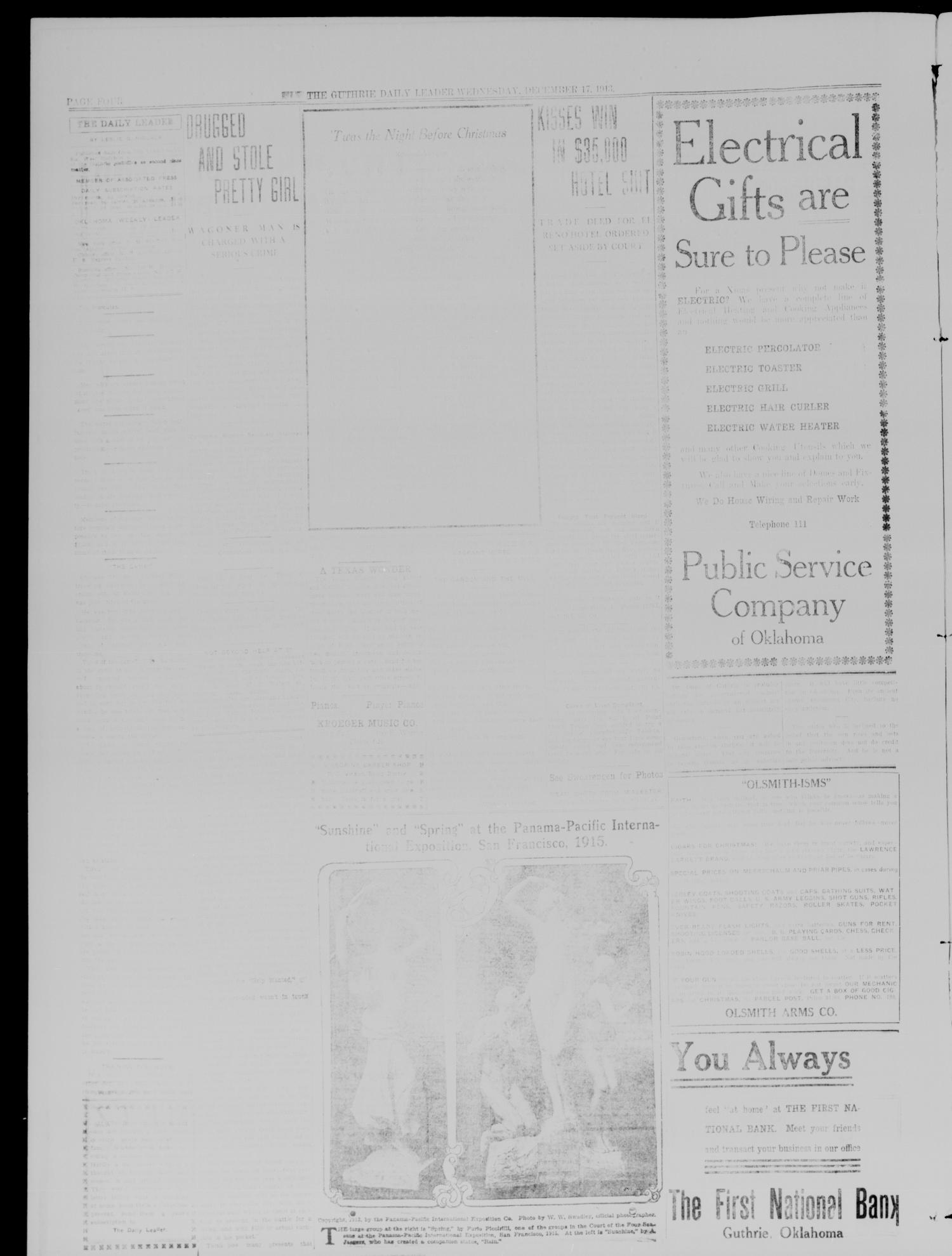 The Guthrie Daily Leader. (Guthrie, Okla.), Vol. 41, No. 136, Ed. 1 Wednesday, December 17, 1913                                                                                                      [Sequence #]: 4 of 8