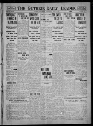 Primary view of object titled 'The Guthrie Daily Leader. (Guthrie, Okla.), Vol. 36, No. 147, Ed. 1 Wednesday, June 7, 1911'.