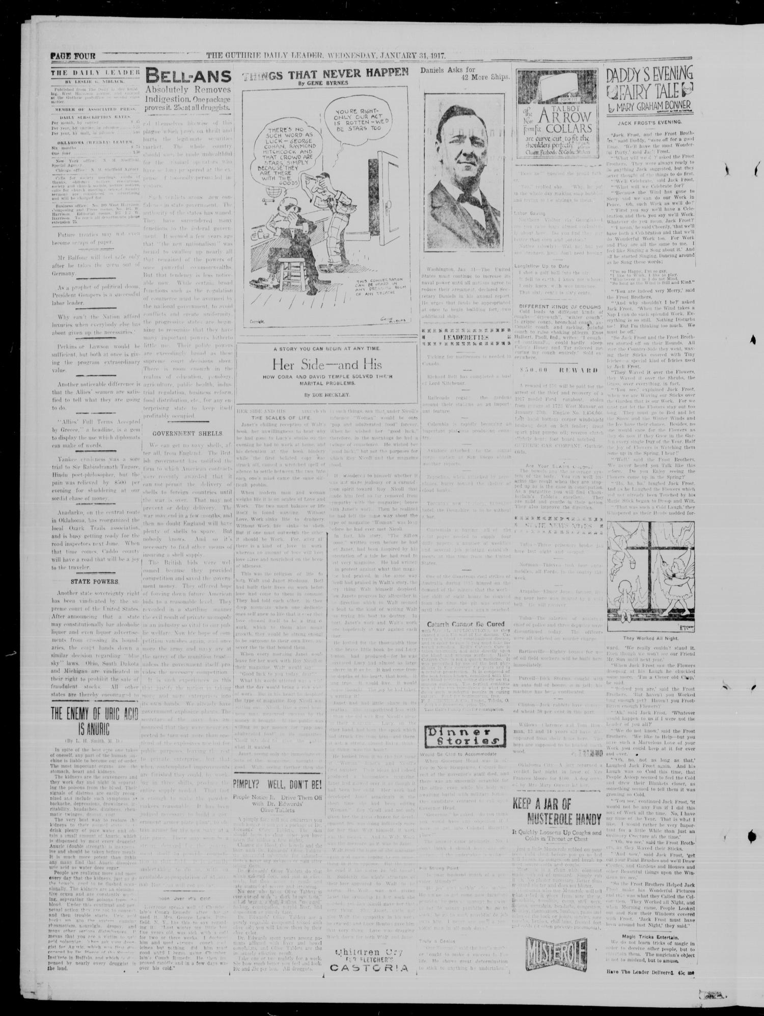 The Guthrie Daily Leader. (Guthrie, Okla.), Vol. 49, No. 17, Ed. 1 Wednesday, January 31, 1917                                                                                                      [Sequence #]: 4 of 8