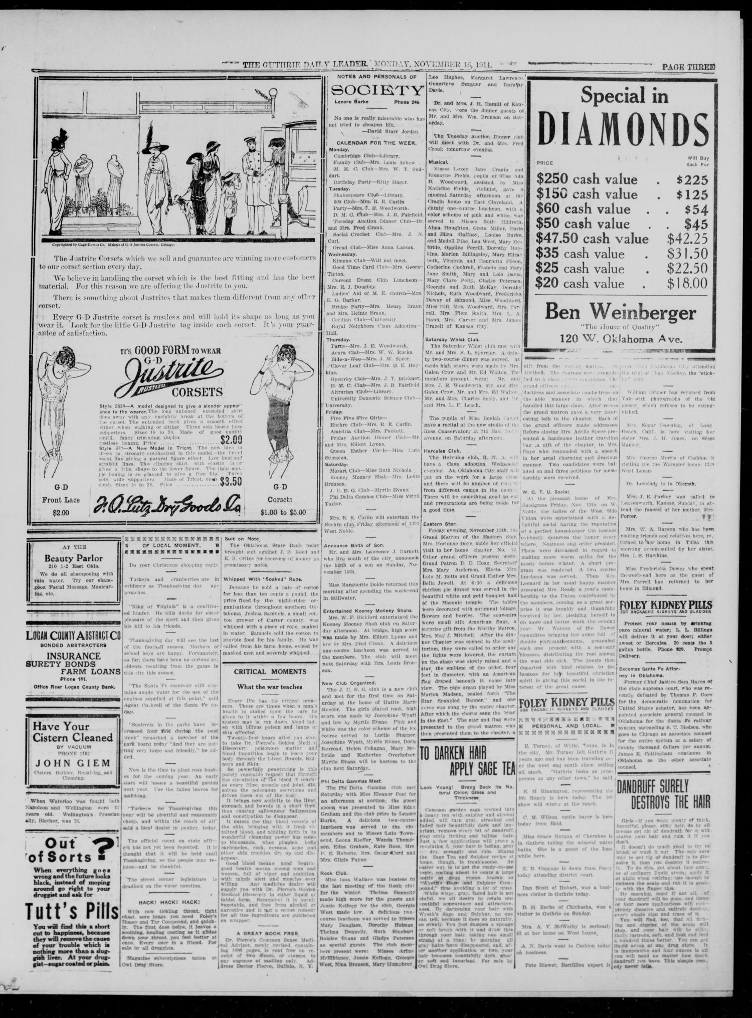 The Guthrie Daily Leader (Guthrie, Okla.), Vol. 48, No. 107, Ed. 1 Monday, November 16, 1914                                                                                                      [Sequence #]: 3 of 8