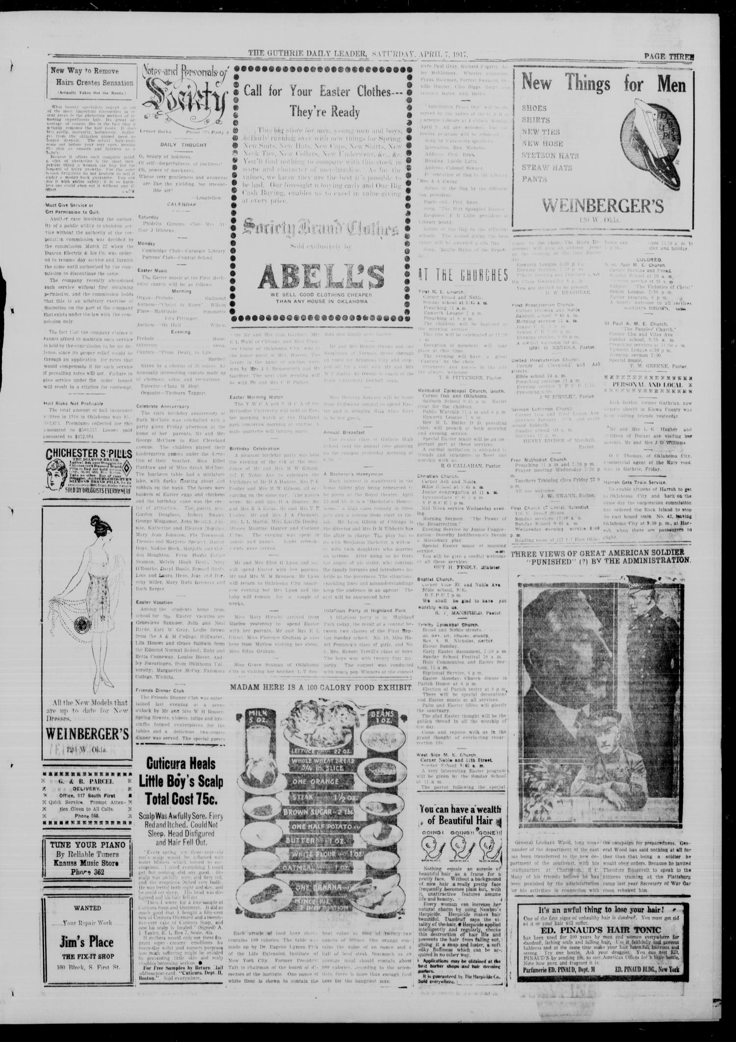 The Guthrie Daily Leader. (Guthrie, Okla.), Vol. 49, No. 65, Ed. 1 Saturday, April 7, 1917                                                                                                      [Sequence #]: 3 of 8