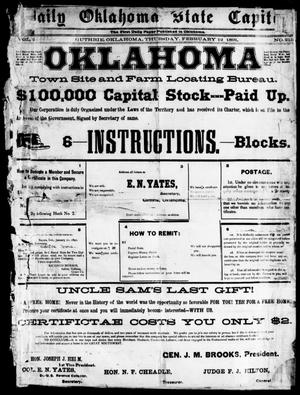 Primary view of object titled 'Daily Oklahoma State Capital (Guthrie, Okla.), Vol. 2, No. 215, Ed. 1, Thursday, February 12, 1891'.