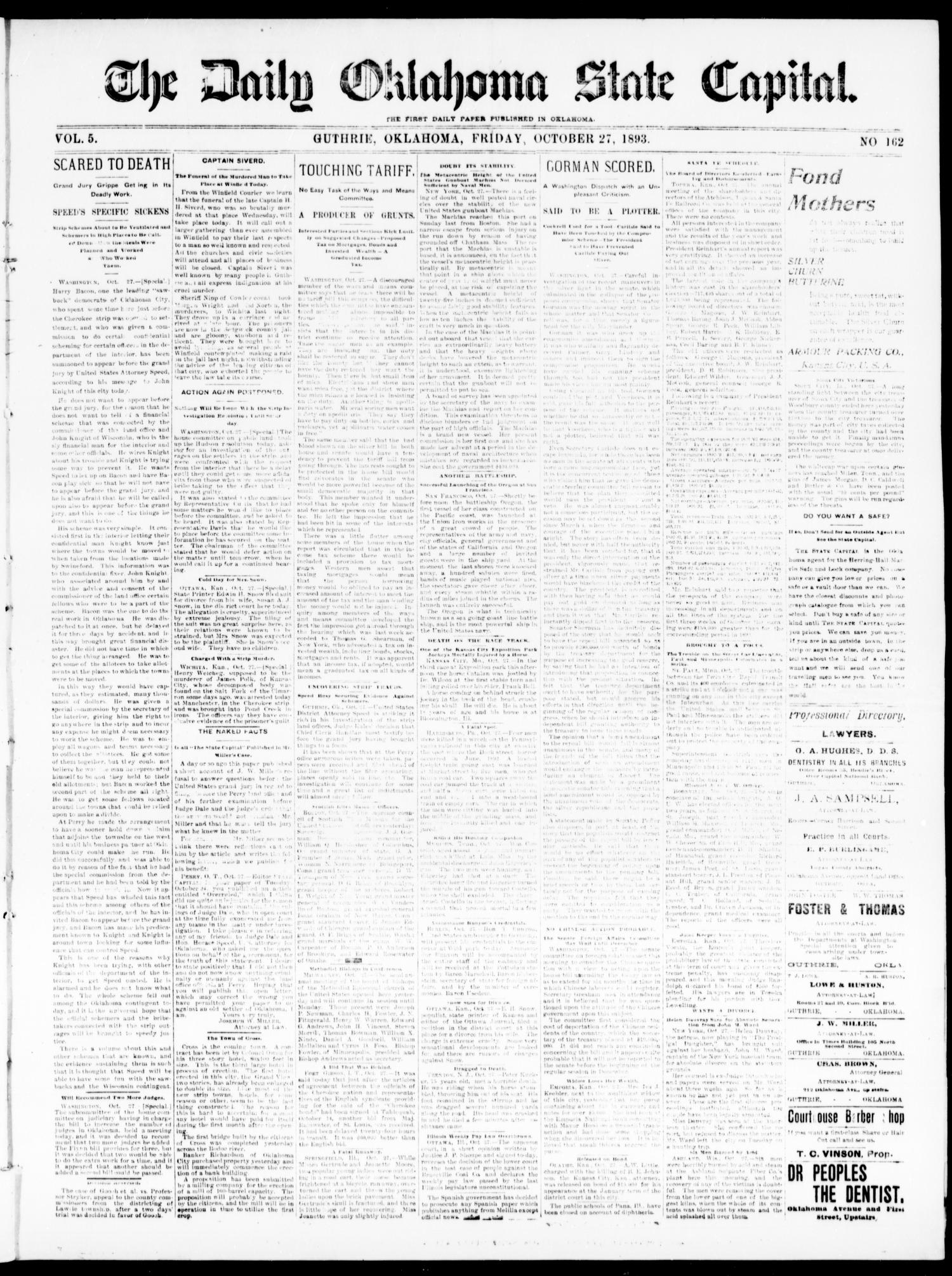 The Daily Oklahoma State Capital. (Guthrie, Okla.), Vol. 5, No. 162, Ed. 1, Friday, October 27, 1893                                                                                                      [Sequence #]: 1 of 4
