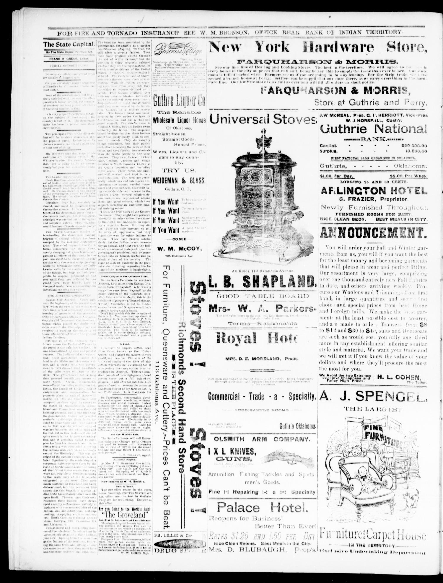 The Daily Oklahoma State Capital. (Guthrie, Okla.), Vol. 5, No. 162, Ed. 1, Friday, October 27, 1893                                                                                                      [Sequence #]: 2 of 4
