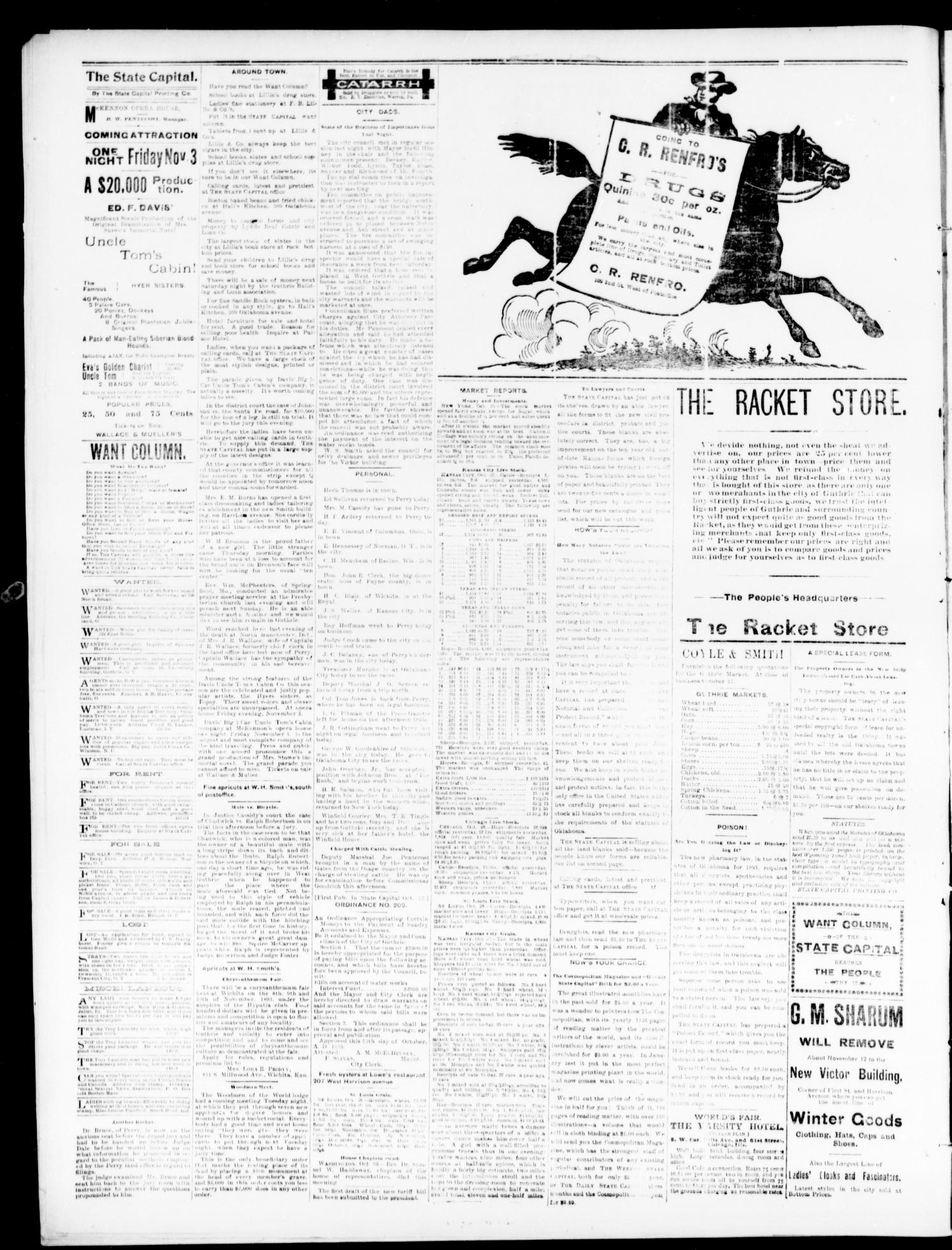 The Daily Oklahoma State Capital. (Guthrie, Okla.), Vol. 5, No. 162, Ed. 1, Friday, October 27, 1893                                                                                                      [Sequence #]: 4 of 4