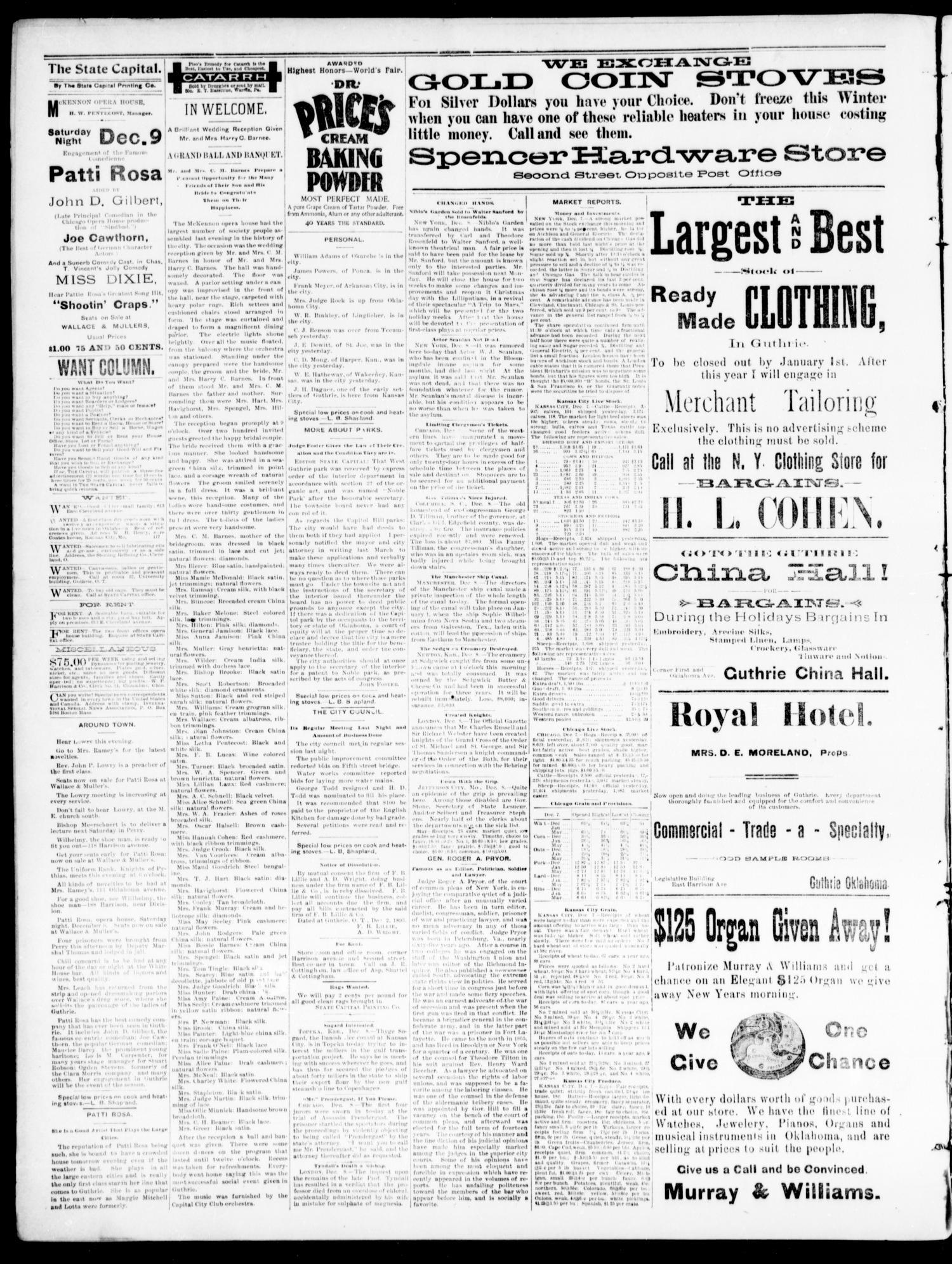 The Daily Oklahoma State Capital. (Guthrie, Okla.), Vol. 5, No. 197 ...