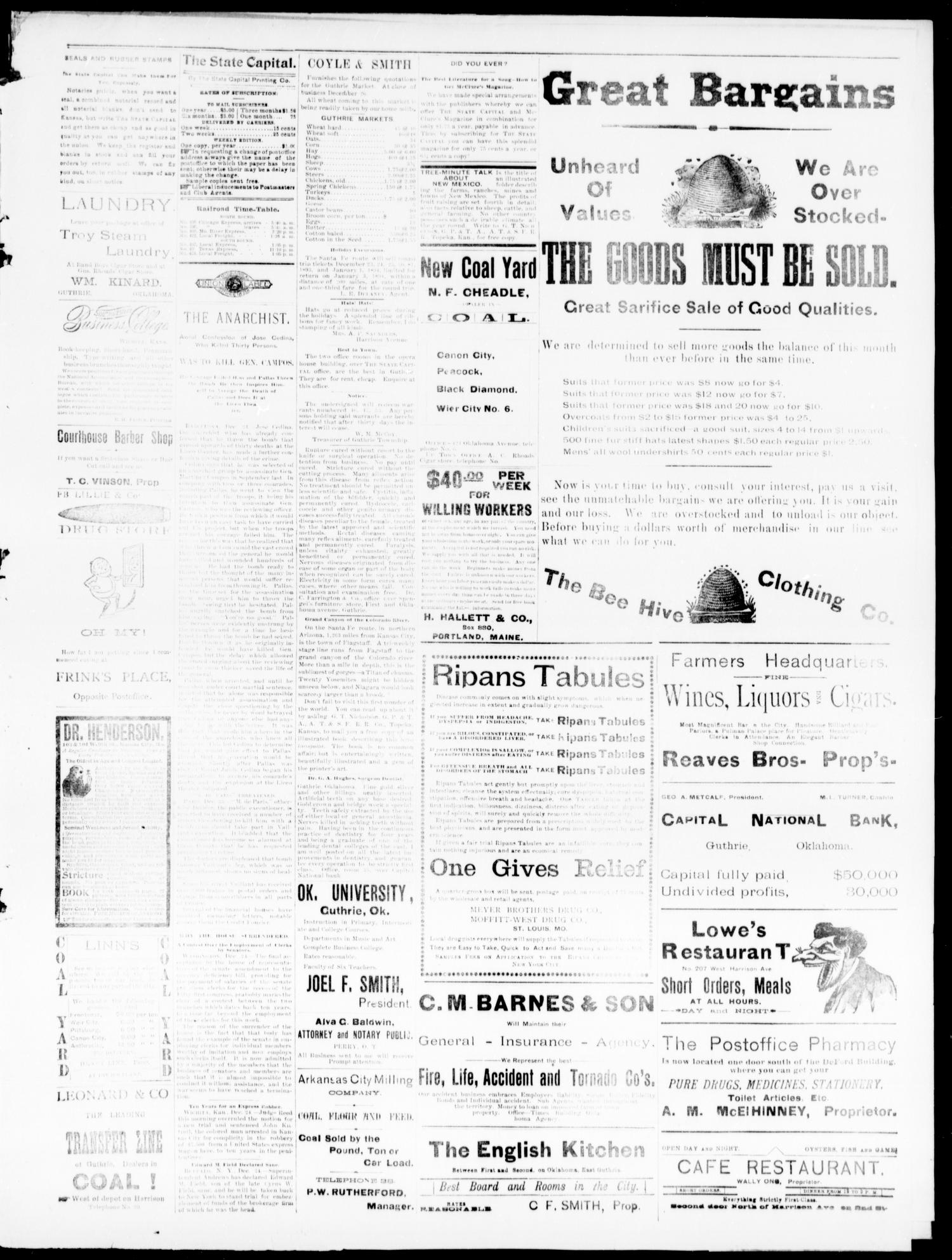 The Daily Oklahoma State Capital. (Guthrie, Okla.), Vol. 5, No. 211, Ed. 1, Tuesday, December 26, 1893                                                                                                      [Sequence #]: 3 of 4