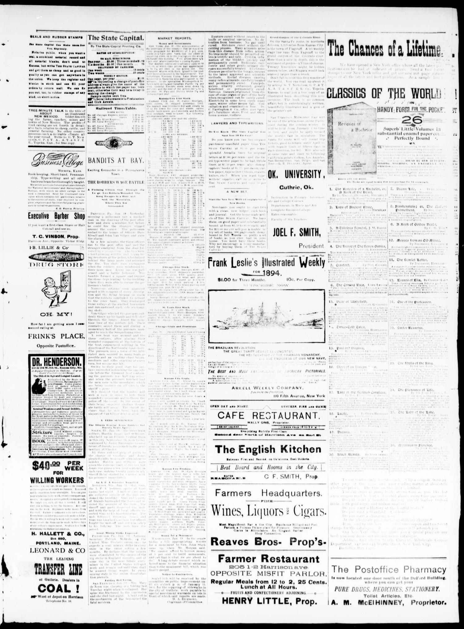 The Daily Oklahoma State Capital  (Guthrie, Okla ), Vol  5