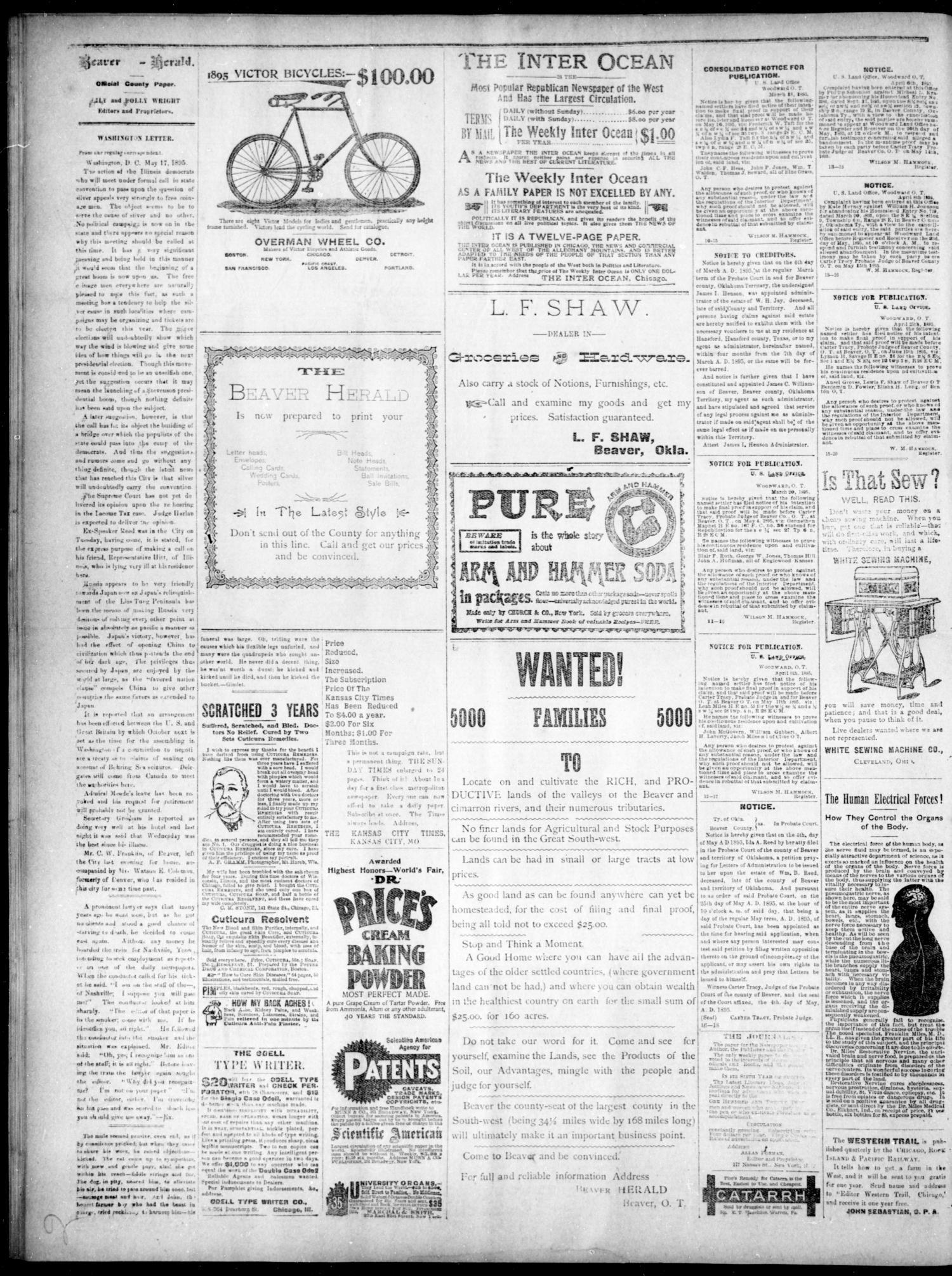The Beaver Herald Beaver Okla Terr Vol 1 No 18 Ed 1 Thursday May 23 1895 Page 2 of 4 The Gateway to Oklahoma History