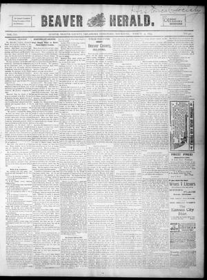 Primary view of object titled 'Beaver Herald. (Beaver, Okla. Terr.), Vol. 12, No. 42, Ed. 1, Thursday, March 9, 1899'.