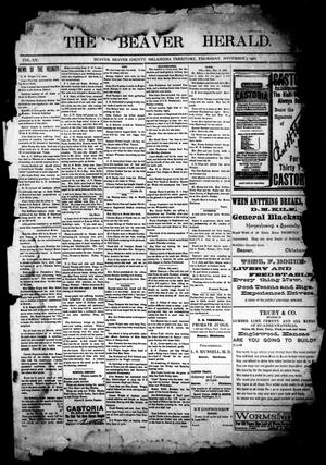 Primary view of object titled 'The Beaver Herald. (Beaver, Okla. Terr.), Vol. 15, No. 26, Ed. 1, Thursday, November 7, 1901'.