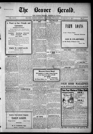 Primary view of The Beaver Herald. (Beaver, Okla.), Vol. 27, No. 38, Ed. 1, Thursday, February 26, 1914