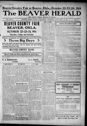 Primary view of object titled 'The Beaver Herald (Beaver, Okla.), Vol. 28, No. 16, Ed. 1, Thursday, September 24, 1914'.