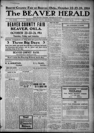 Primary view of object titled 'The Beaver Herald (Beaver, Okla.), Vol. 28, No. 17, Ed. 1, Thursday, October 1, 1914'.