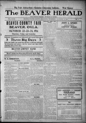 Primary view of object titled 'The Beaver Herald (Beaver, Okla.), Vol. 28, No. 19, Ed. 1, Thursday, October 15, 1914'.