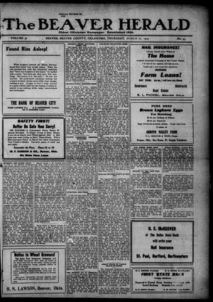 Primary view of The Beaver Herald (Beaver, Okla.), Vol. 32, No. 43, Ed. 1, Thursday, March 27, 1919