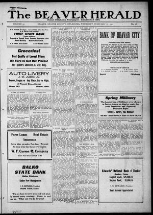 The Beaver Herald (Beaver, Okla.), Vol. 33, No. 38, Ed. 1, Thursday, February 17, 1921