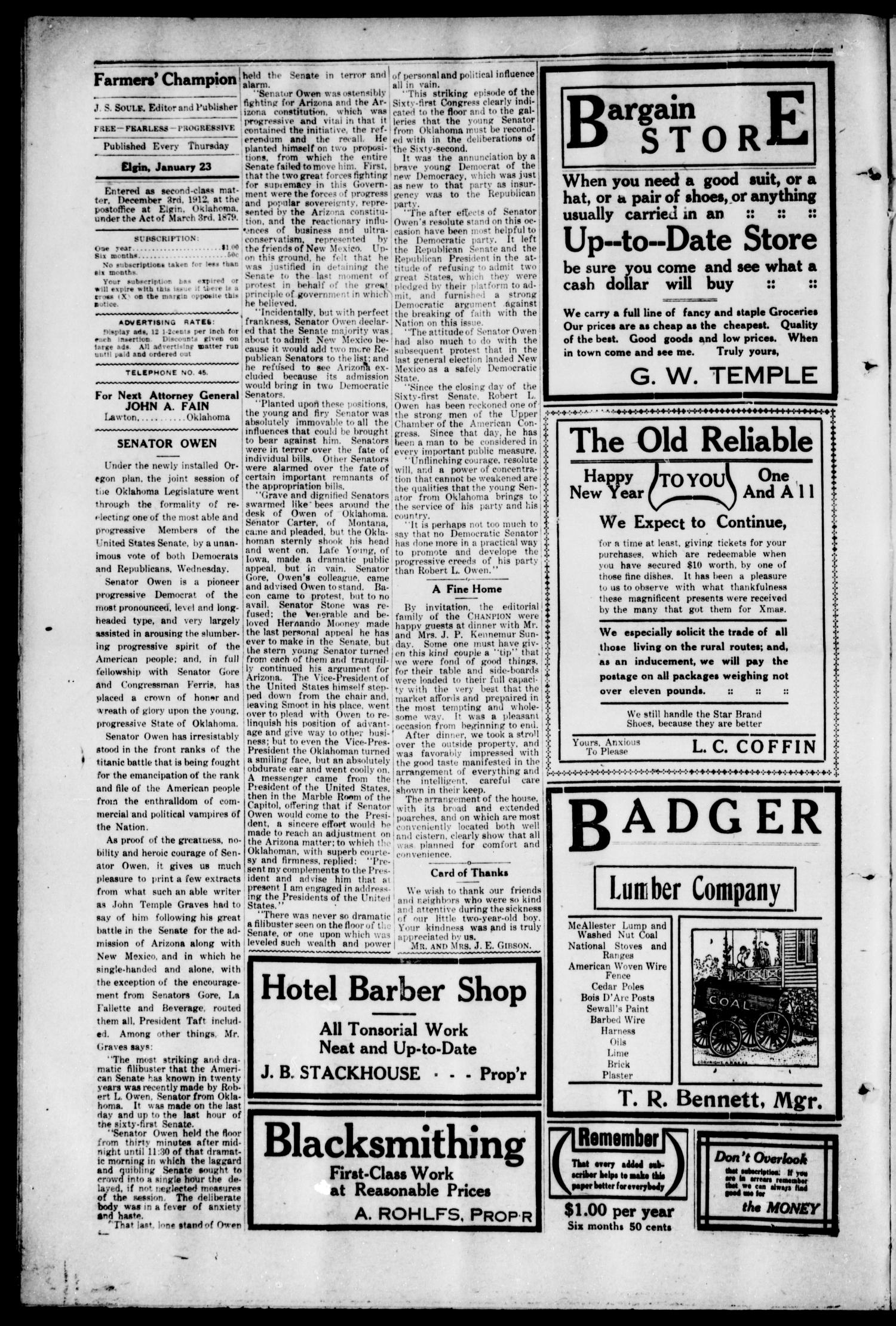 Farmers' Champion (Elgin, Okla.), Vol. 3, No. 14, Ed. 1, Thursday, January 23, 1913                                                                                                      [Sequence #]: 4 of 8