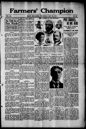 Farmers' Champion (Elgin, Okla.), Vol. 3, No. 32, Ed. 1, Thursday, May 29, 1913