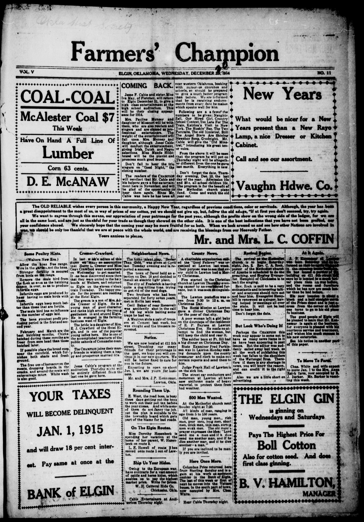 Farmers' Champion (Elgin, Okla.), Vol. 5, No. 11, Ed. 1, Wednesday, December 30, 1914                                                                                                      [Sequence #]: 1 of 4