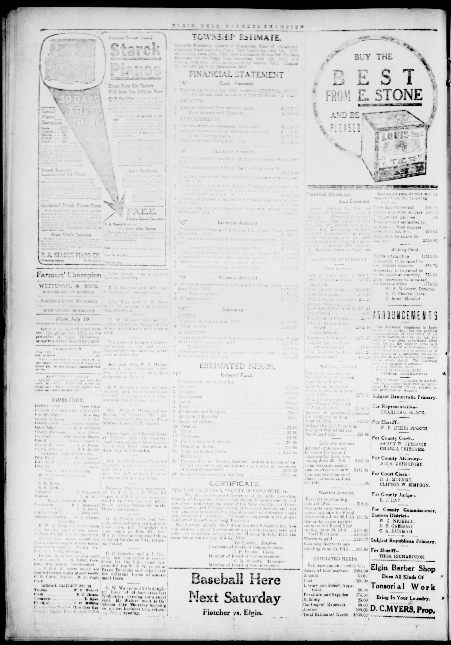 Farmers' Champion (Elgin, Okla.), Vol. 6, No. 44, Ed. 1, Wednesday, July 19, 1916                                                                                                      [Sequence #]: 4 of 4