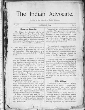 The Indian Advocate. (Sacred Heart Mission, Okla. Terr.), Vol. 5, No. 1, Ed. 1, Sunday, January 1, 1893