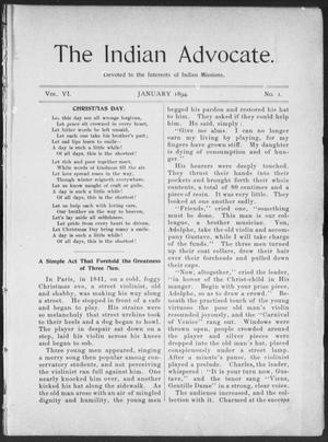 Primary view of object titled 'The Indian Advocate. (Sacred Heart Mission, Okla. Terr.), Vol. 6, No. 1, Ed. 1, Monday, January 1, 1894'.