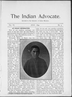 Primary view of object titled 'The Indian Advocate. (Sacred Heart Mission, Okla. Terr.), Vol. 6, No. 3, Ed. 1, Sunday, July 1, 1894'.