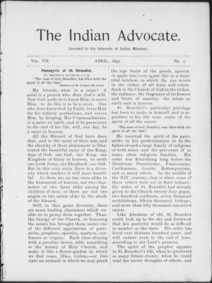Primary view of object titled 'The Indian Advocate. (Sacred Heart Mission, Okla. Terr.), Vol. 7, No. 2, Ed. 1, Monday, April 1, 1895'.
