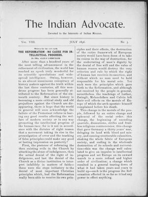 Primary view of object titled 'The Indian Advocate. (Sacred Heart Mission, Okla. Terr.), Vol. 8, No. 3, Ed. 1, Wednesday, July 1, 1896'.