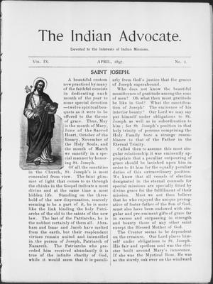Primary view of object titled 'The Indian Advocate. (Sacred Heart Mission, Okla. Terr.), Vol. 9, No. 2, Ed. 1, Thursday, April 1, 1897'.